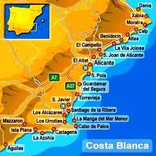 Karta Fran Alicante Till Torrevieja.Costa Blanca Miniguide